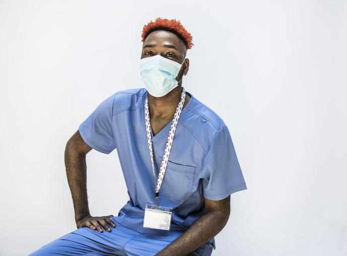 Studio portrait of male doctor/healthcare worker