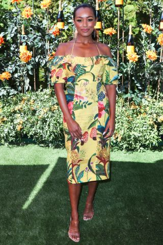 Melanie Liburd arrives at the 10th Annual Veuve Clicquot Polo Classic Los Angeles held at Will Rogers State Historic Park on October 5, 2019 in Pacific Palisades, Los Angeles, California, United States.