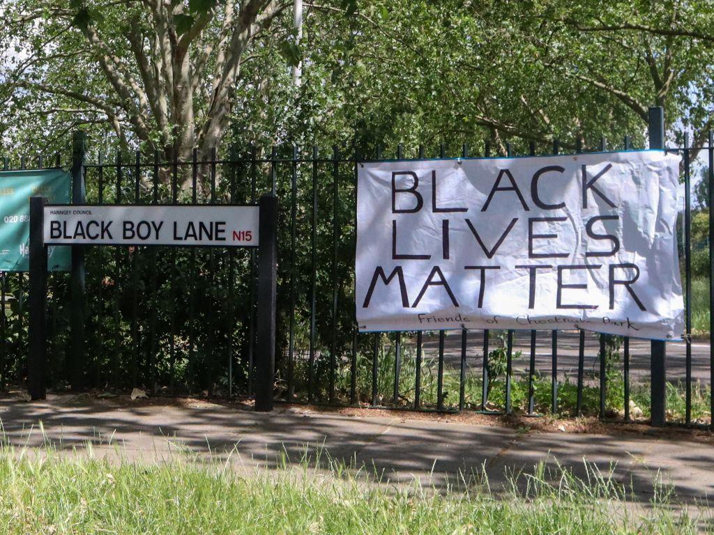 Black Lives Matter banner on Black Boy Lane, London - Sunday 14 June 2020 - London