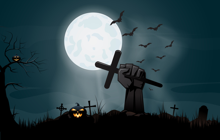 Halloween night background with hand holding cross. Vector