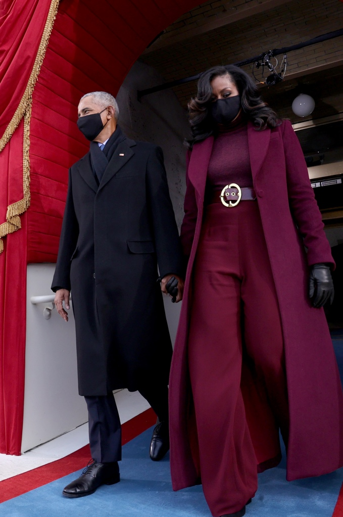 Barack and Michelle Obama hold hands at 2021 Inauguration Day