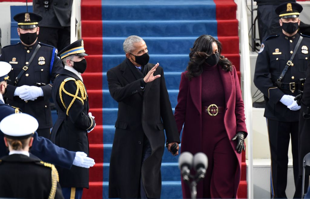 Barack and Michelle Obama greet attendees at 2021 Inauguration Day