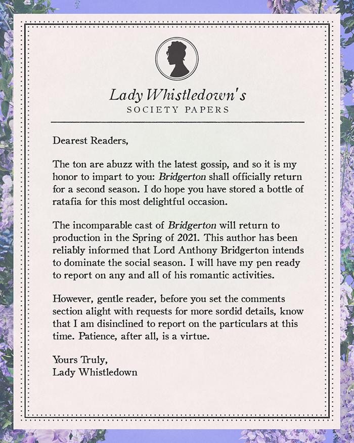 Lady Whistledown's society paper — Bridgerton season 2 announcement
