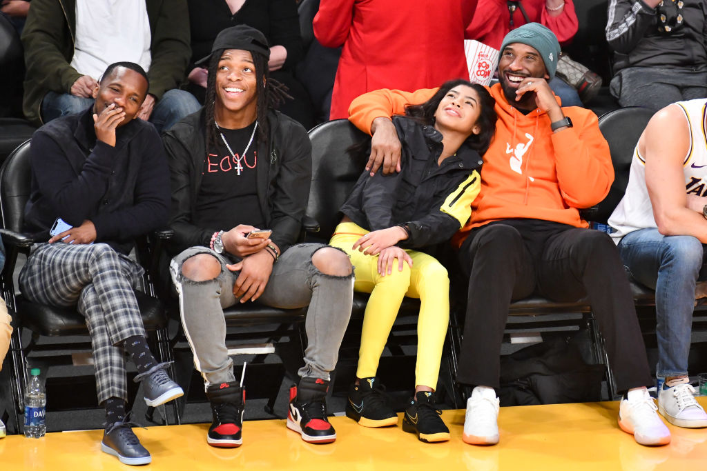 Kobe and Gianna Bryant happy at a 2019 Los Angeles Lakers Game