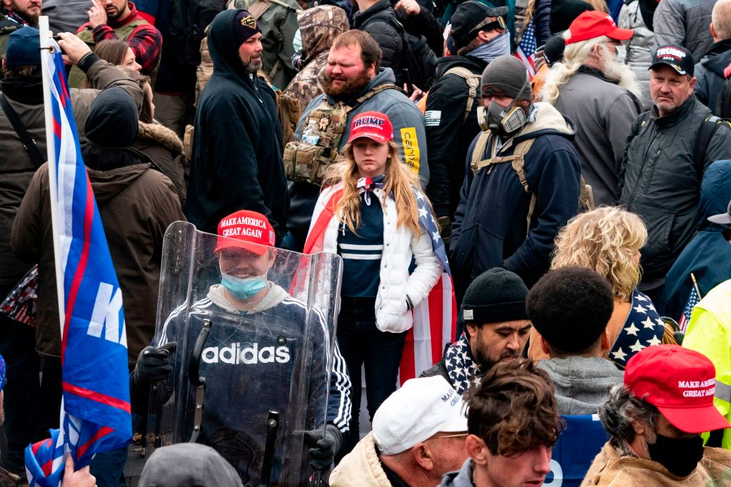 Rioters gather in the attempted coup of the U.S. Capitol