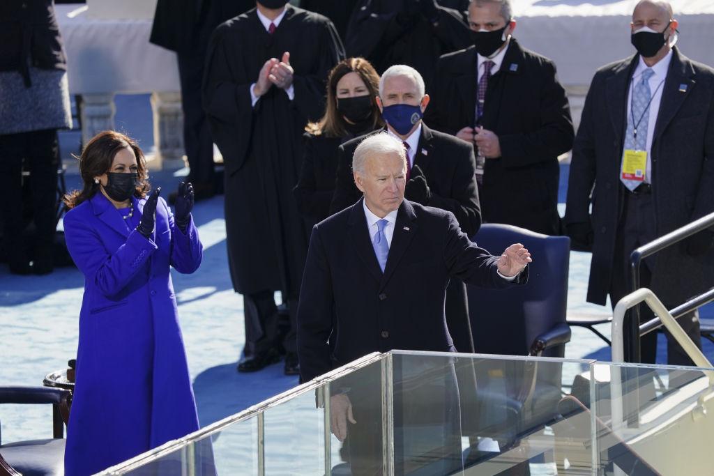 Kamala Harris and Joe Biden pictured together at 2021 Inauguration