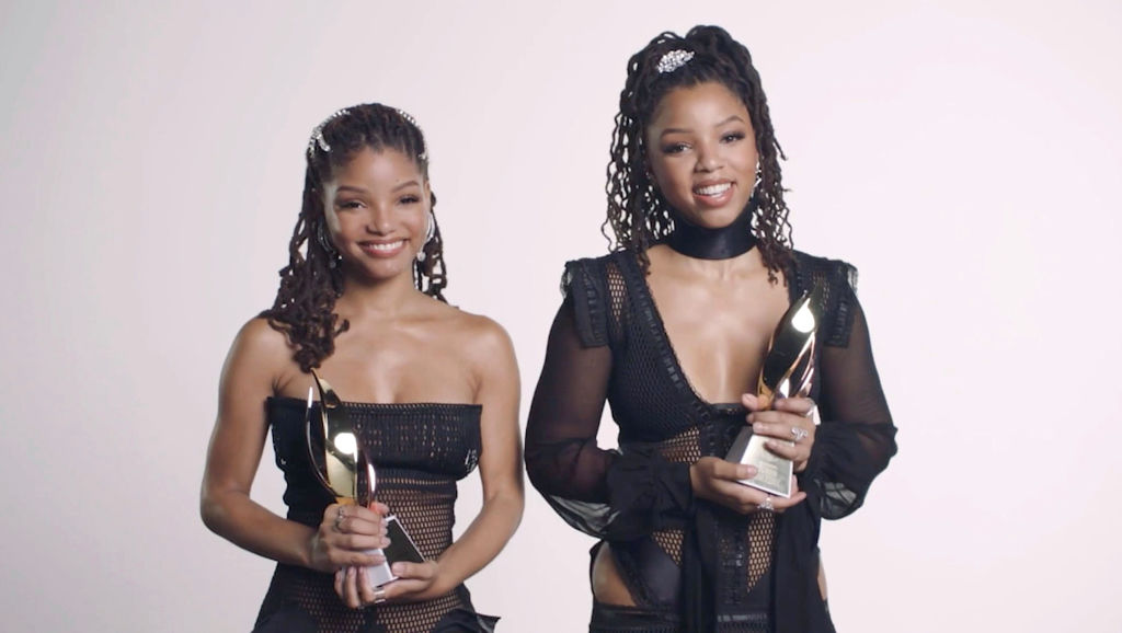 Chloe and Halle Bailey pictured together at Billboard Women In Music 2020