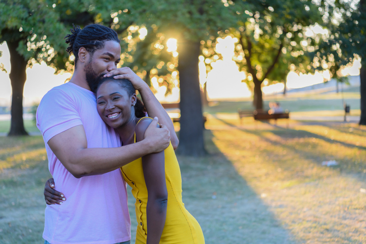 An African Couple in Love are Having a Fun in the Park.