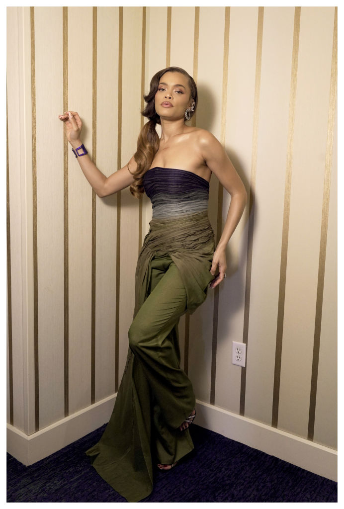 Andra Day poses as she preps for the 2021 Critics Choice Awards