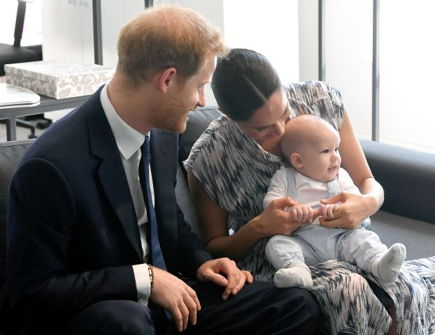 Baby Archie Harrison Mountbatten-Windsor with mom Meghan Markle and dad Prince Harry