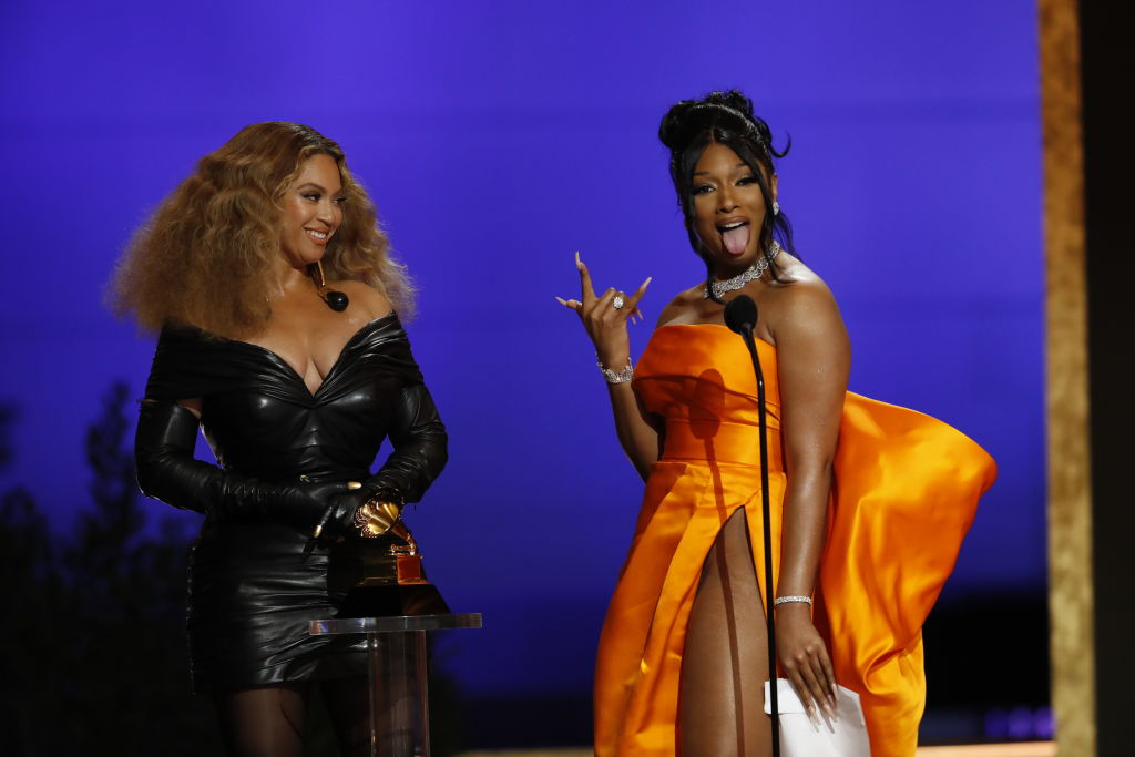 Beyoncé and Meg Thee Stallion at the 63rd Annual Grammy Awards, March 14 2021