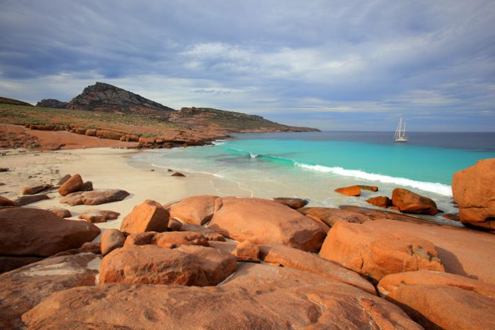 Yacht moored at Pearson Island. South Australia.