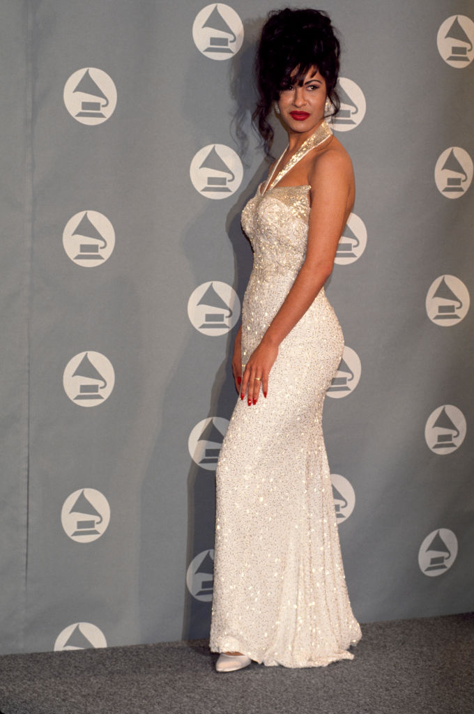 Selena Quintanilla Receives Grammy In Ivory Gown