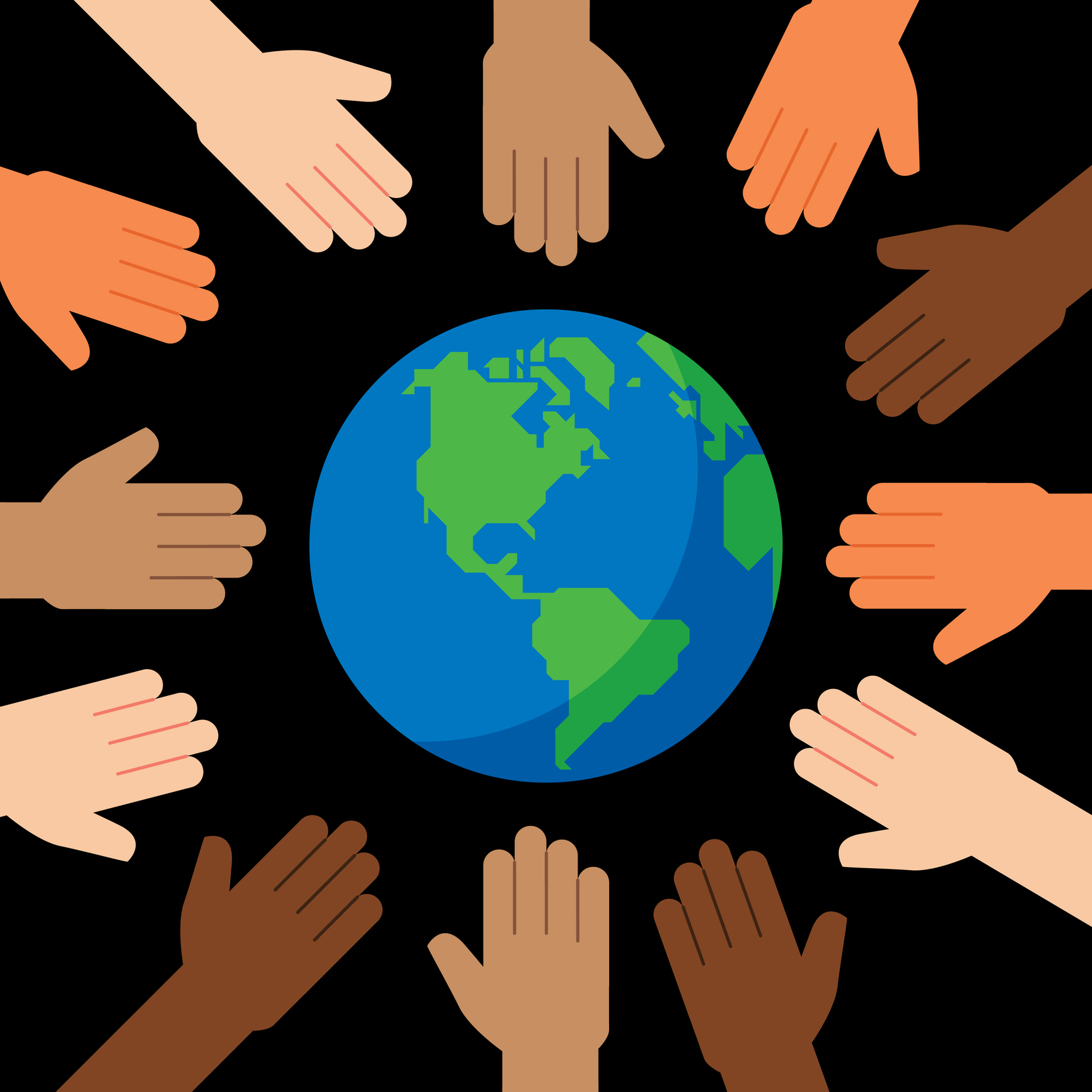 Multi-Ethnic Hands Around Globe