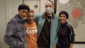 Tattoo artist Dr. Woo with Red Table Talk Hosts Willow Smith Jada Pinkett-Smith and Adrienne Banfield-Norris