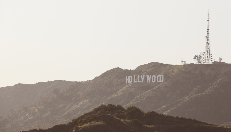 View of Hollywood sign from far
