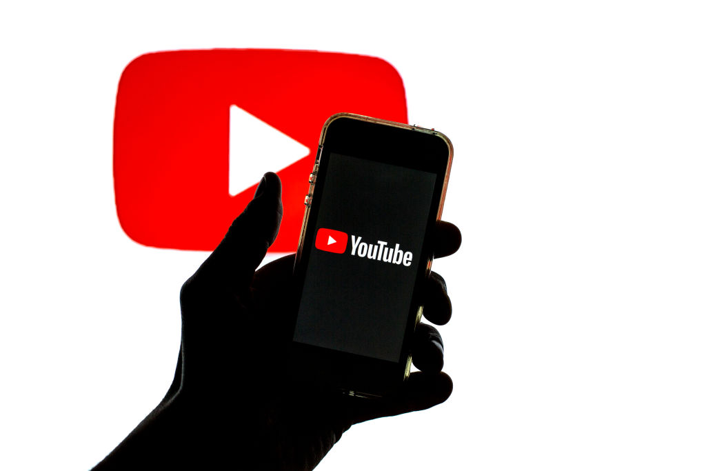 In this photo illustration the YouTube app in App Store seen...