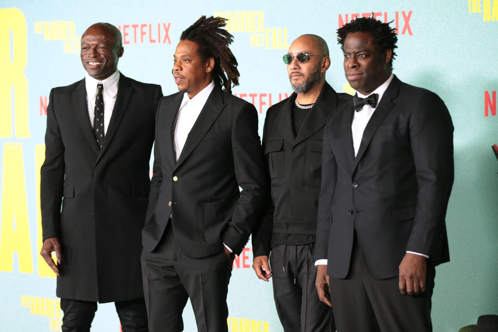 Seal, Jay-Z, Swizz Beatz, and director Jeymes Samuel attend the L.A. premiere for 'The Harder They Fall.'
